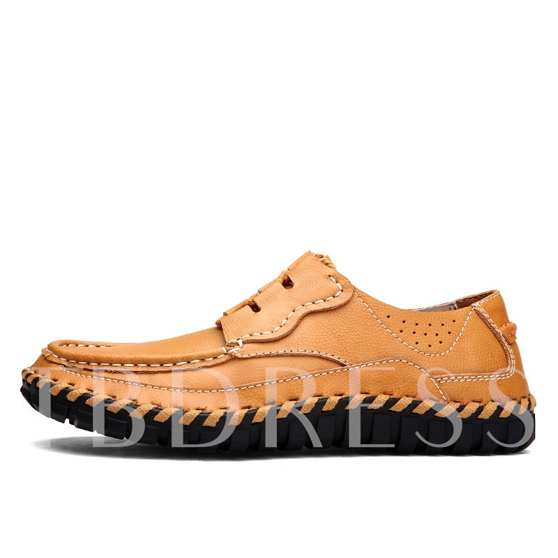 Round Toe Flat Heel Lace-Up Men's Loafers Boat Shoes