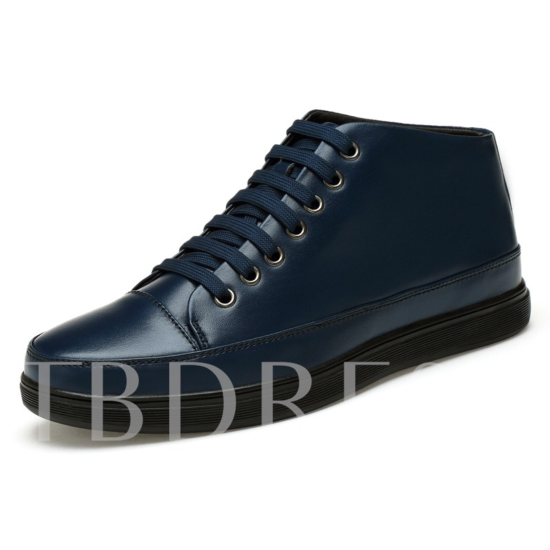 Round Toe Flat Heel Ankle Lace-Up Front Men's Boots