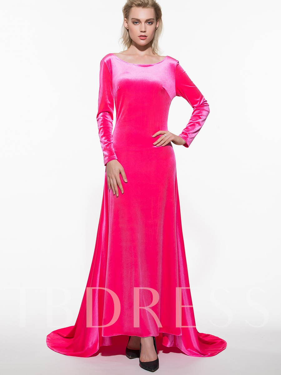 Buy Solid Color Backless Long Sleeve Women's Maxi Dress (Plus Size Available), Spring,Summer,Fall, 11999104 for $15.99 in TBDress store