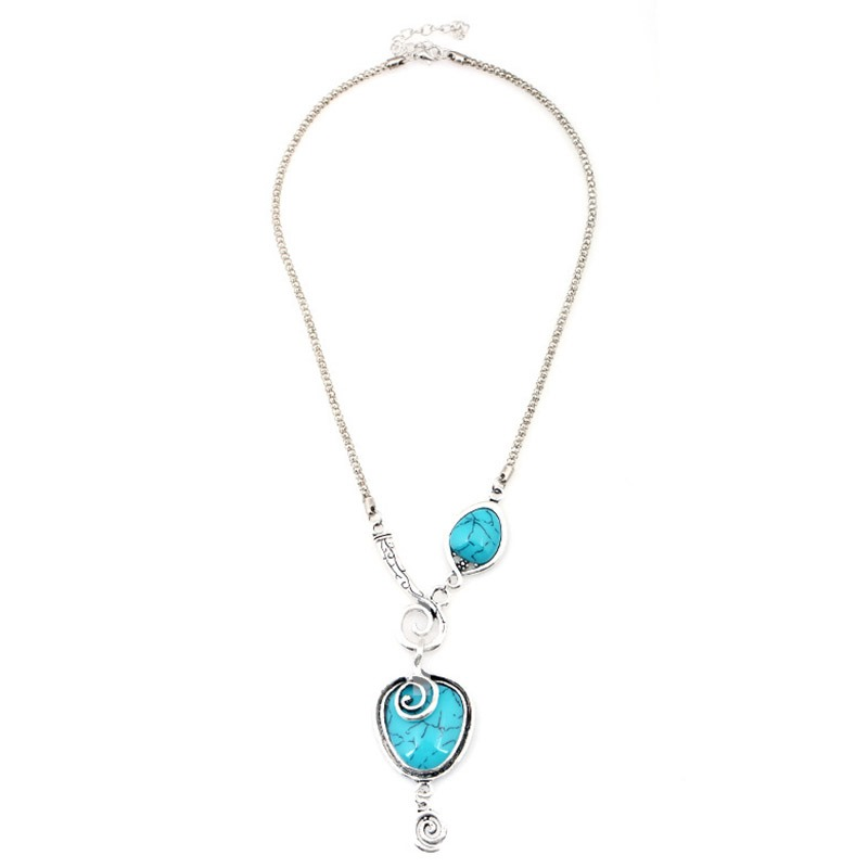 Antique Silver Turquoise Necklace