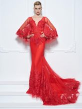 Mermaid V-Neck Sequins Appliques Red Evening Dress