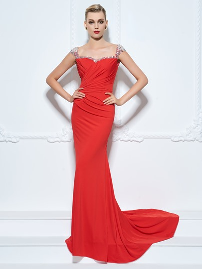 Sheath Straps Beading Rhinestone Pleats Evening Dress