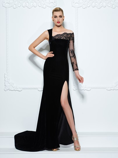 One-Shoulder Velvet Lace Split-Front Court Train Evening Dress