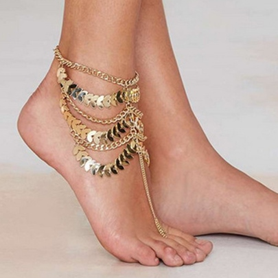 Multilayer Tassel Chain Anklet