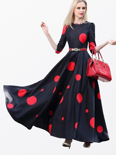 Dots Pleated Half Sleeve Women's Maxi Dress