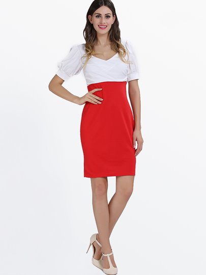 Short Sleeve V-Neck Women's Bodycon Dress (Plus Size Available)