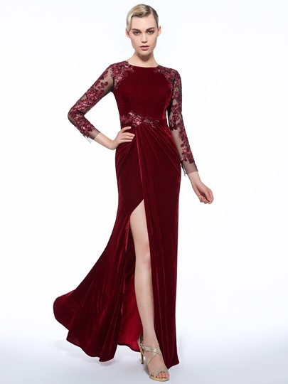 Jewel Sheath Velvet Appliques Button Sequins Evening Dress