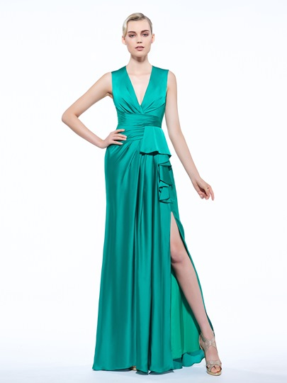 Pleats Sheath V-Neck Split-Front Floor-Length Evening Dress