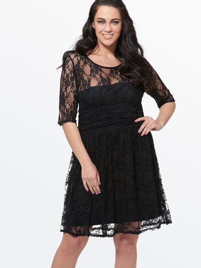 Lace A-Line Plus Size Chiffon Women's Day Dress