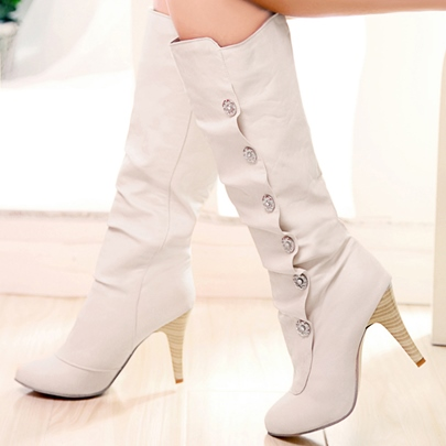 Round Toe Slip-On Stiletto Heel Plain Mid-Calf Women's Boots