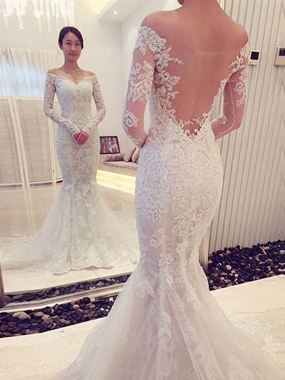 Off The Shoulder Appliques Long Sleeves Mermaid Wedding Dress