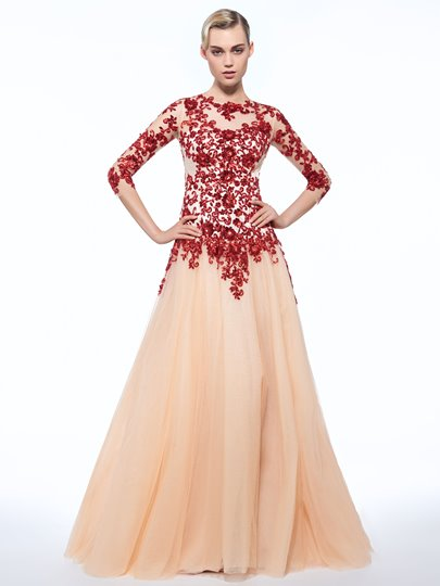 A-Line Jewel Appliques Button Sequins Evening Dress