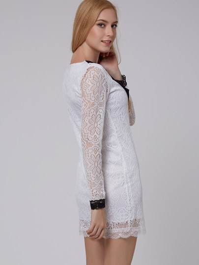Peter Pan Collar Long Sleeve Women's Lace Dress (Plus Size Available)