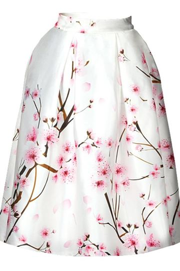 White Flower Print Women's Skirt