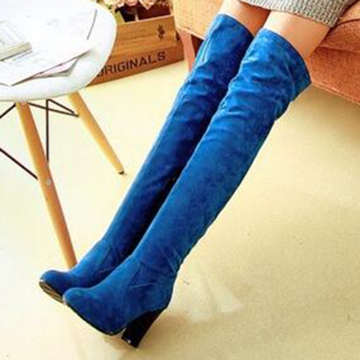 Side Zipper Round Toe Chunky Heel Short Floss Over-the-Knee Women's Boots