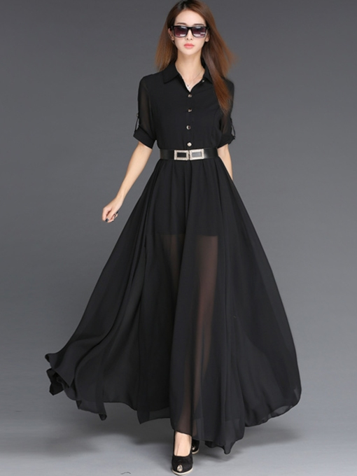 Lapel Half Sleeve Single-Breasted Women's Maxi Dress