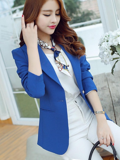 Plain Slim Fit Lapel Pocket Women's Blazer