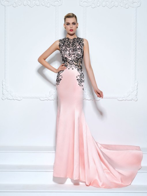 Jewel Mermaid Appliques Lace Court Train Evening Dress
