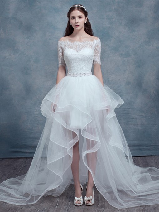Off-The-Shoulder Short Sleeves High-Low Wedding Dress