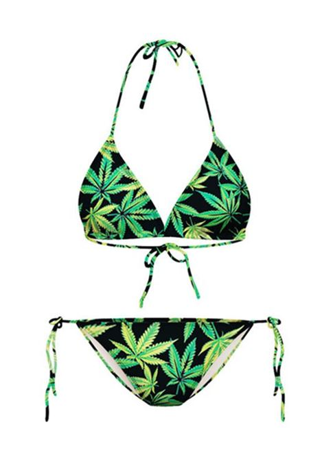 Lace-Up Green Leaves Printed Halter Women's Bikini Set