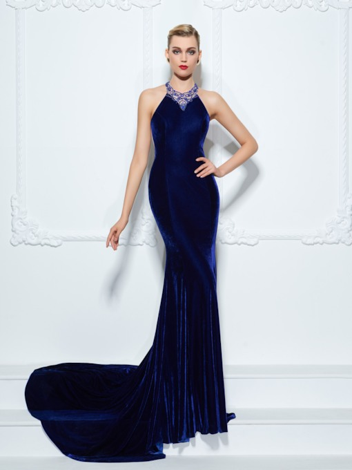 Beading Halter Velvet Trumpet Court Train Evening Dress