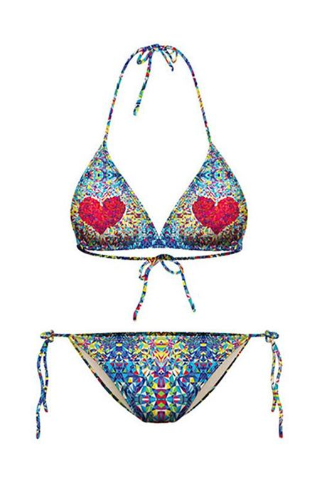 Red Heart Printed Colorful Lace-Up Halter Women's Bikini Set