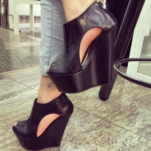 Wedge Heel Platform Black Sandals