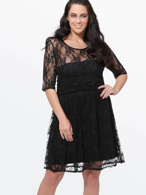 Plus Size Lace A-Line Plus Size Chiffon Women's Day Dress