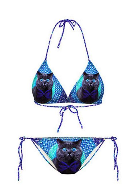 Blue Cat Printed Color Block Lace-Up Halter Women's Bikini Set