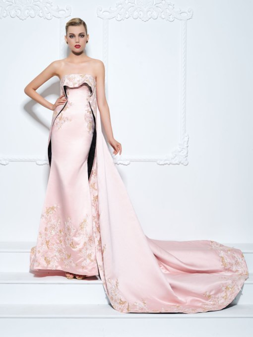 Mermaid Strapless Sequins Embroidery Evening Dress with Train