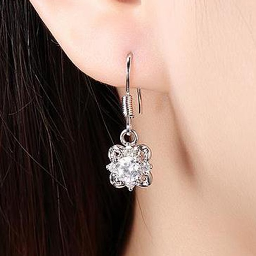 Silver E-Plating Zircon Earrings