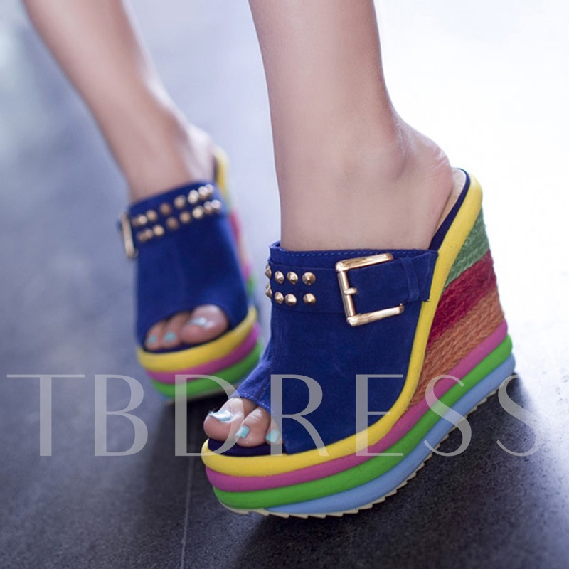 Image of Colored Peep Toe Wedges Womens Slippers