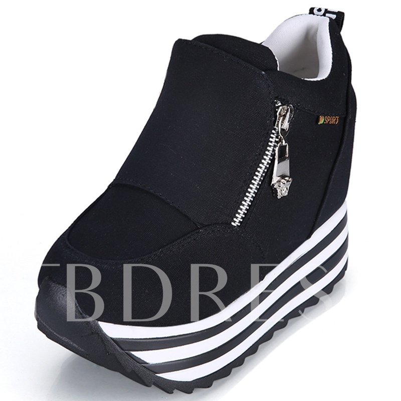 Round Toe Zipper Stripe Platform Women's Sneakers