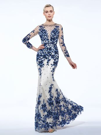 Sheath Scoop Long Sleeves Appliques Beading Sashes Sequins Evening Dress