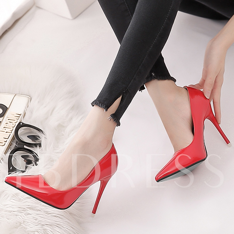 Plain Stiletto Heel Pointed Toe Slip-On Women's Pumps