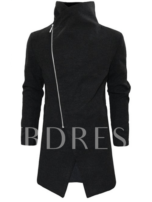 Detachable Shearling Collar Inclined Zipper Men's Trench Coat