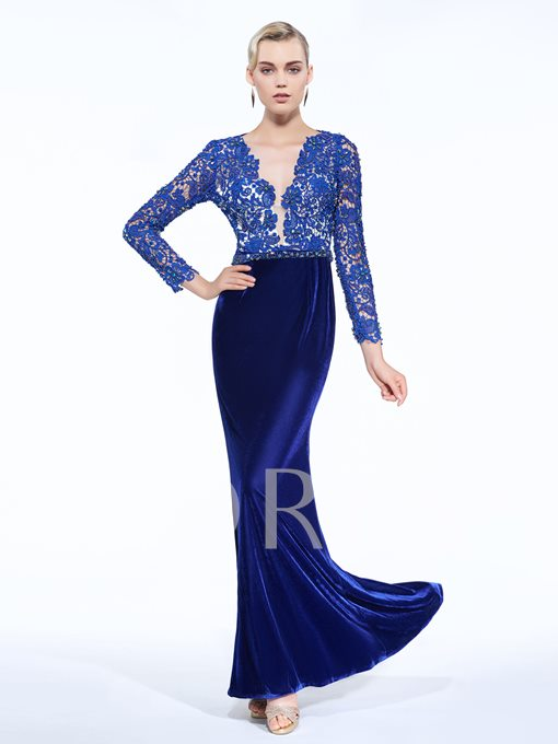 Sheath V-Neck Velvet Beaded Lace Sashes Evening Dress