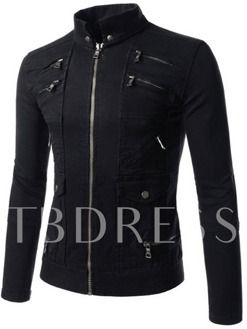 Stand Collar Slim Vogue Men's Motor Jacket with Front Zipper
