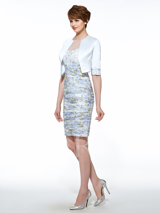 Appliques Sheath Mother Of The Bride Dress With Jacket