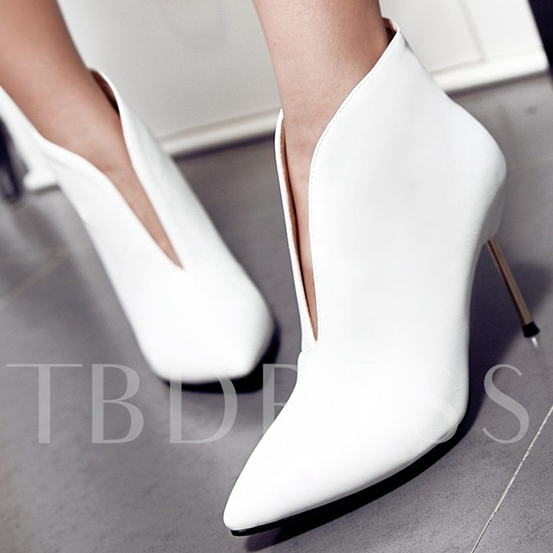 Pointed Toe Slip-On Short Floss Ankle Plain Women's Boots