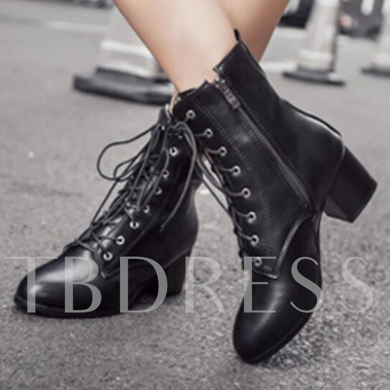 Round Toe Side Zipper Ankle Lace-Up Short Floss Women's Boots