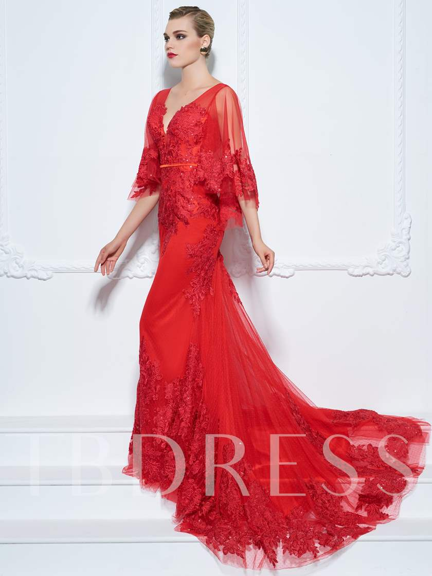 Mermaid V-Neck Half Sleeves Appliques Sashes Court Train Evening Dress