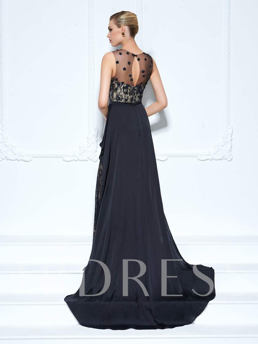 Scoop Sheath Lace Ruffles Watteau Train Evening Dress