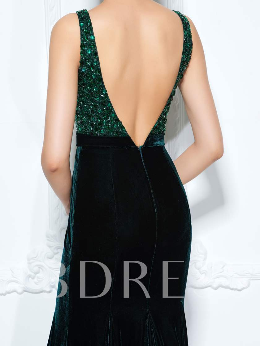 Straps Velvet Trumpet Beading Bowknot Rhinestone Sequins Evening Dress