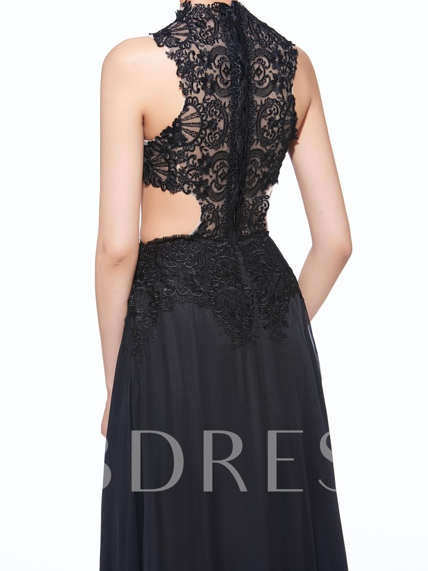 A-Line V-Neck Appliques Hollow Lace Long Evening Dress
