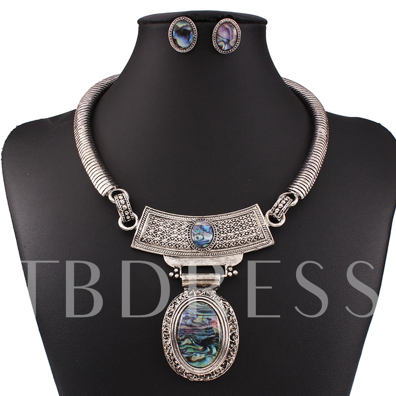 Vintage Style Oval Design Alloy Jewelry Set