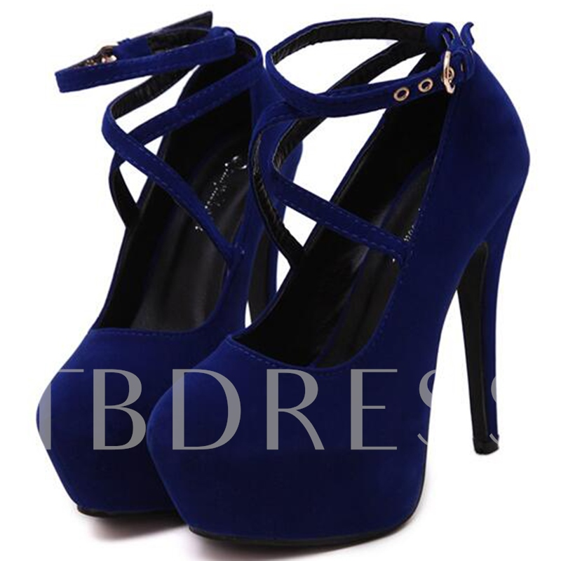 Round Toe Buckle Plain Cross Strap Platform Women's Pumps
