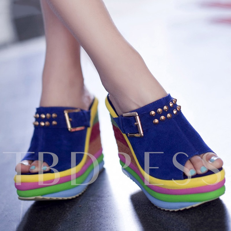 Colored Peep Toe Wedges Women's Slippers