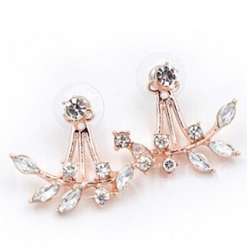 Shining Leaves Diamante Stud Earrings
