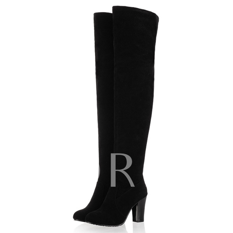 Buy Side Zipper Round Toe Chunky Heel Short Floss Over-the-Knee Women's Boots, Fall,Winter, 12244938 for $29.99 in TBDress store